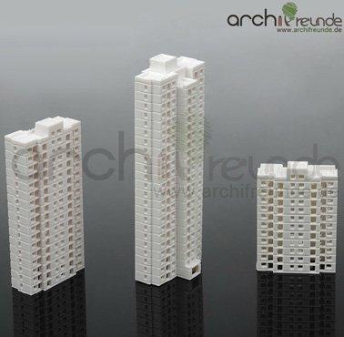 3 x Modellbau Bausatz Gebäude Hochhaus 1:800 Typ A+B+C