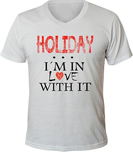 Mister Merchandise Herren Men V-Ausschnitt T-Shirt Holiday - I´m in love Tee Shirt Neck bedruckt Weiß