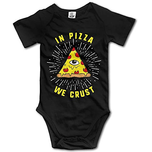 TKMSH Pizza We Crust Newborn Short Sleeve Jumpsuit Outfits Black