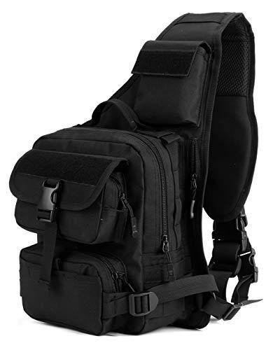 DCCN Sling Rucksack Schulterrucksack Tactical Sling Bag Brusttasche MOLLE Daypack Crossbag mit Verstellbarem Schultergurt für Wandern Radf...