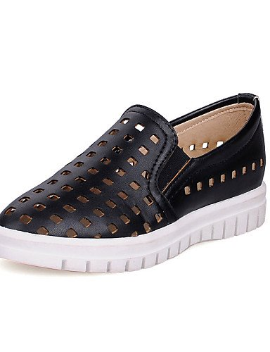 ZQ gyht Scarpe Donna - Mocassini - Tempo libero / Formale / Casual - Creepers / Punta arrotondata - Plateau - Finta pelle - Nero / Rosa / Bianco , black-us8 / eu39 / uk6 / cn39 , black-us8 / eu39 / uk black-us6 / eu36 / uk4 / cn36