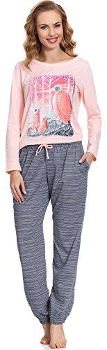 Cornette Damen Schlafanzug CR 684 01 (Rosa, M) (Schlafen Flanell Pyjama-hose)
