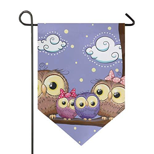 DEZIRO Gartenflagge Lovely Owls Family Muster vertikal doppelseitig Yard Decor bunt Design für alle Jahreszeiten und Urlaub, Polyester, 1, 12x18.5in