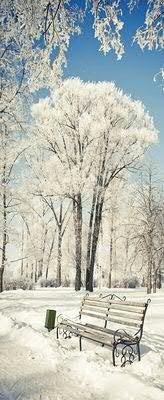Banner - Thema: Weihnachten - Beschneite Landschaft & Bank - 180cmx75cm - zum Hängen & Dekorieren