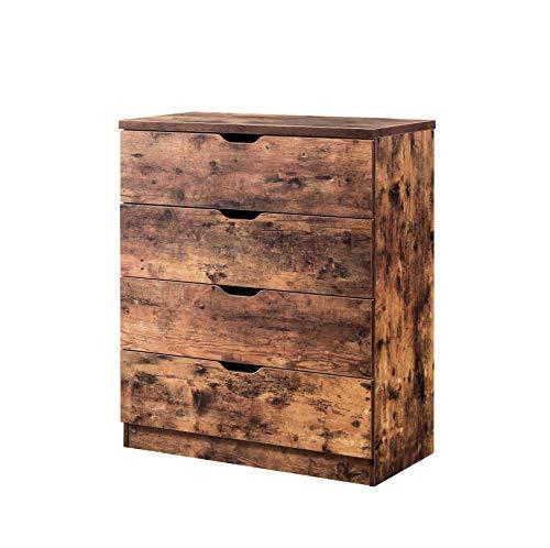 Benjara BM196214 Kommode mit Vier Schubladen und Griffen aus Holz, rustikaler Stil, Braun - 4 Schubladen Breite Brust