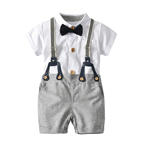 Baby Jungen Gentleman Outfits Smoking Anzüge Kleinkind Kurzarm StramplerOveralls Taufe Hochzeit Kleidung Set Shirt + Trägerhose + Fliege (90/12-18 Monate)