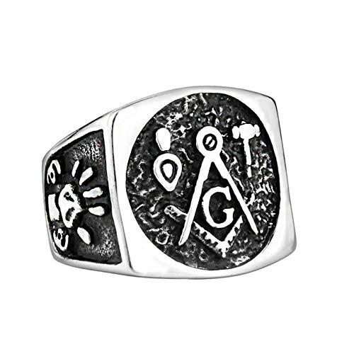 Lafeil Ringe Herren Silber Bandring Flach Ring Mason Herren Ring Schwarz Silber Ringgröße 60 (19.1) -