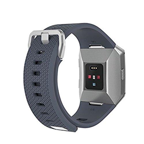 Providethebest Soft-Zubeh?r Ersatzband Metallschnalle G¨¹rtel Fitness-Armband-Silikon-B¨¹Gel f¨¹r Fitbit Ionic Grau