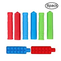 8 Packs Pencil Topper, ANSUG Silicone Therapy Toys Non-Toxic Sensory Chews Toys for Baby Children for Special Needs, Teething Relief Biting, Anxiety