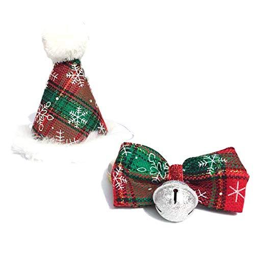 Wudi Weihnachten Pet Hut und Fliege Halskette in Pom - Topper Pet Kegel Pac Für Katzen-Kätzchen Kostüm - Kätzchen Pet Kostüm