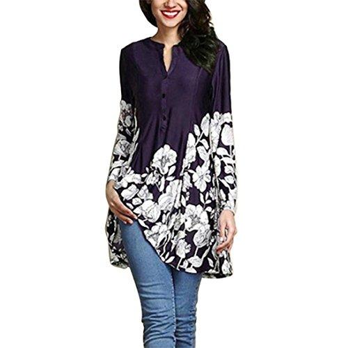 iYmitz Women Plus Size Floral Print V-Neck Fashion Long Sleeve Button Long Shirt