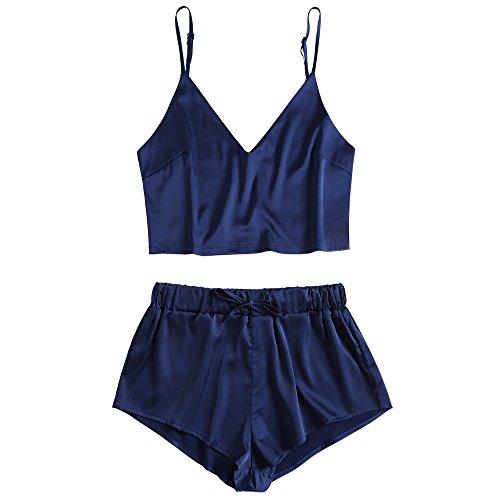 ZAFUL Damen Sexy Satin Sling Top Shorts Zweiteiliger Pyjama Set Sleepwear Schlafanzüge Nachtwäsche (Mitternachtsblau S)