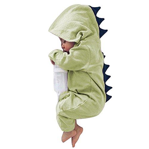 Tangbasi Toddler Baby tutina invernale autunno con cappuccio neonato Halloween dinosauro costume verde Green 2 - 3 anni