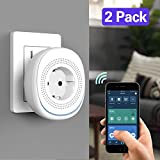 MoKo WiFi Smart Plug, [2 Pack] WiFi Outlet Socket with 2 USB Ports, No Hub Required, Compatible with Alexa Echo, Google Home & IFTTT, Smart Life App Remote Control with Timer Function, White