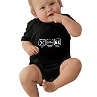 PKLUAS Baby Boy Girls Funny Eat Sleep Chess Infant Romper Jumpsuit Short Sleeve Outfit For Newborn Gift (Size 0-24 Months)