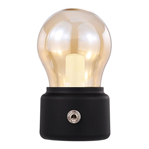 SODIAL Retro-Gluehbirne LED wiederaufladbare Nachtlicht, Mini Schreibtisch Tisch Dekor Stimmung Nachtlicht, neben Bett Stehlampe, Freund Buero Coffee Shop Dinner Schlafzimmer schwarz