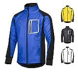 CYCLEHERO Winddichte Fahrradjacke wasserdicht atmungsaktiv reflektierend Softshell Jacke Outdoorjacke (Blau, XXL)