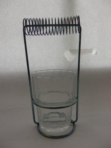 Pinselwaschbehälter aus Glas mit Spirale zur schwebenden Aufhängung der Pinsel