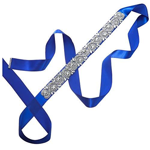 AWAYTR Damen Hochzeit Gürtel Strass Schärpe - Strass Schärpe Gürtel für die Hochzeit Party Abschlussball Abend Kleider (Königsblau) (Schärpe Kleid Hochzeit)