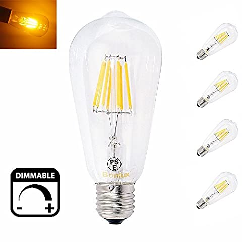 Bonlux 8W ST64 E27 dimmbare LED Lange Glühlampe Warmweiß 2700K Edison Screw E27 LED Antike LED Eichhörnchen Käfig Glühlampe 75W Ersatz (4 Stück)