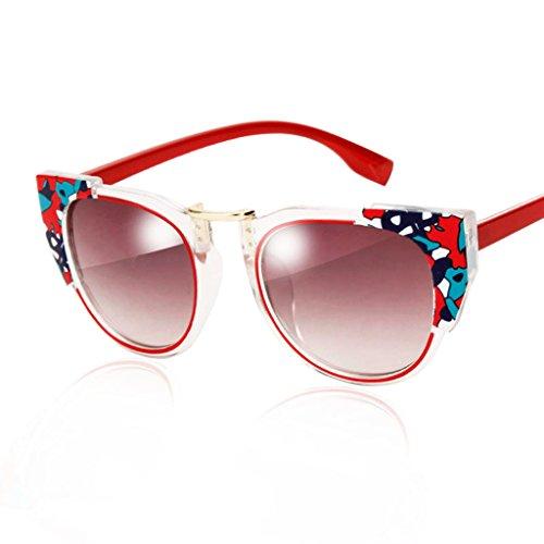 Qqb bicchieri occhiali da sole in pizzo - occhiali da sole riflettenti a colori retrò - occhiali da sole colorati personalizzati con scatola trasparente (colore : c)