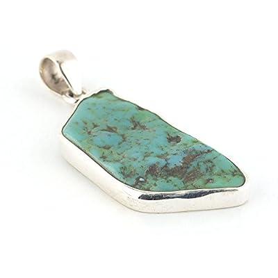 Pendentif turquoise vert de forme irrégulière serti d'argent 925, 36x18x5 mm