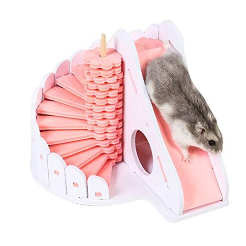 Oyria Niedliches Holzschlafhaus, aus Holz zusammengebaute Zwei-Schicht-Hütte mit Rutschtreppe für Hamster-Kleintierversteck Deluxe Hamster-Villa, Rosa