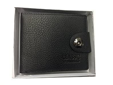 Leather Men Wallet Brand New Boxed Good Christmas Gift Luxury (Black/Classic Metal)