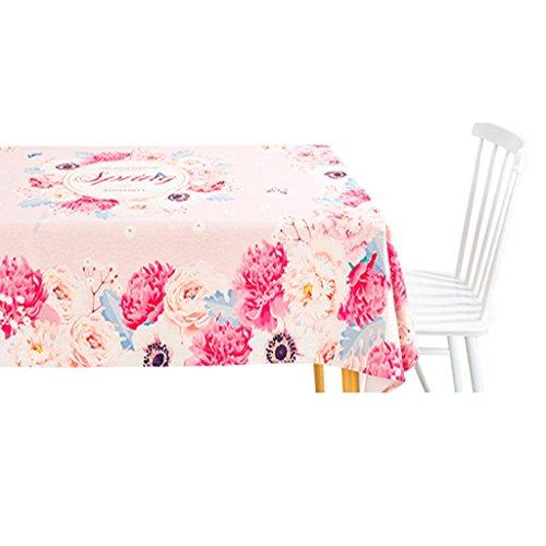HEG-Manteles El Rosa florece el Mantel de Lino de Algodón/el Mantel Rectangular/la Sala de Estar Alrededor del Paño del Escritorio (Color : A, Tamaño : 85*85CM)