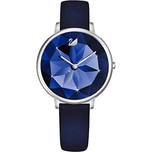 Swarovski Crystal Lake Damen-Armbanduhr 35mm Armband Leder Blau Quarz 5416006