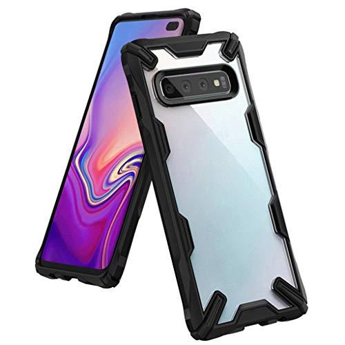Newest!!!leicht Hülle für Samsung Galaxy S10 / S10 Plus, Handyhülle FlipTransparent TPU Silikon Sichtfenster Case Schutzhülle Sleep Wake up Schutzhülle Rüstung Bumper Phone Cover (Schwar (S10 Plzus)) Rüstung Series Case