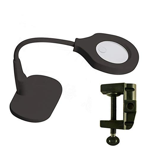 BQJ 5X und 10X Vergrößerung,2-in-1- LED Vergrößerungslampe für Tisch und Schreibtisch-Lupe,Für Senioren Lesen, Inspektion, Löten, Handarbeiten, Reparat,schwarz