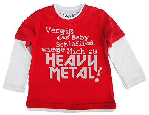 Dirty Fingers Dirty Fingers, Vergiß das schlaflied, Heavy Metal!, Skater langärmlig, 6-12m, Rot & Wei?