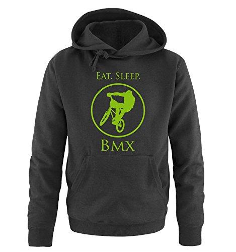Comedy Shirts - EAT. Sleep. BMX - Herren Hoodie - Schwarz/Grün Gr. XXL