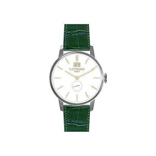 Locman reloj hombre 0252V08–00whrgpg al cuarzo (batería) acero quandrante blanco correa piel