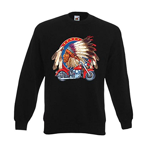 Sweatshirt Indian & Motorcycle, american style Print Häuptling mit Federschmuck und US Bike, cooles USA Biker Motorrad Pullover (ABR00261) XXL (Indian Motorcycle T-shirt)