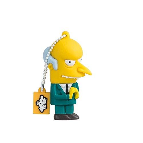 Tribe Simpsons Mr. Burns USB Stick 8GB Speicherstick 2.0 High Speed Pendrive Memory Stick Flash Drive, Lustige Geschenke 3D Figur, USB Gadget aus Hart-PVC mit Schlüsselanhänger - Gelb