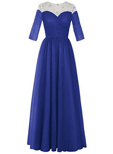 Bbonlinedress Robe longue de cérémonie en tulle forme empire avec manches Bleu Saphir