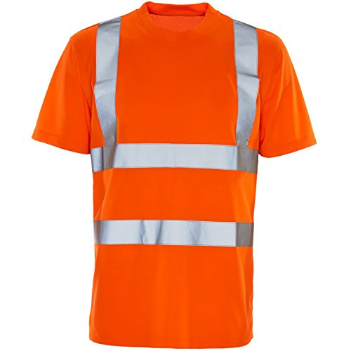 Price comparison product image Hi Viz Vis Round Neck T-Shirt High Visibility Reflective Tape Safety Security Work Crew Neck Bird Eye Short Sleeve T Shirt Breathable Lightweight Double Tape Workwear Top S-4XL