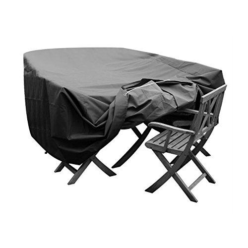 GREEN CLUB Housse de protection pour salon de jardin table + 6 chaises - 245x165x65 cm - Anthracite