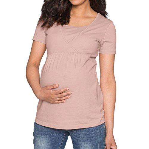 JYJM Women's Maternity Pflege Wrap Top Solid Doppelschicht Bluse T Shirt Komfortable und bequeme schwangere Frauen Normallack Pflege Pflege Top T-Shirt Kurzarm Mutter Geschenk (Rosa, ()