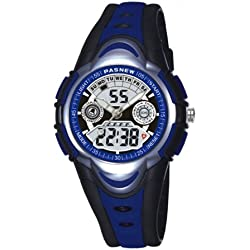 HighQuality PASNEW Waterproof Analog-Digital Chronograph Sport Watch for boys and girls deep blue