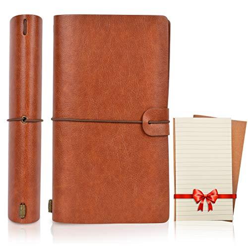 Magichome Leder Notizbuch A6 Vintage Journal Tagebuch Retro Notizblock Reise Skizzenbuch Nachfüllbar Notizheft Individuell