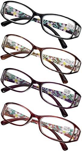 KOOSUFA Lesebrillen Damen Lesehilfe Sehhilfe Augenoptik Blumen Qualität Vollrandbrille 1.0 1.5 2.0 2.5 3.0 3.5 4.0 4.5 5.0 5.5 6.0 (4 Stück Set(Schwarz+Rot+Violett+Braun), 2.0)
