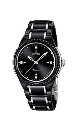 University Sports Press F16698/4 - Reloj de cuarzo para mujer, con correa de cerámica, color negro