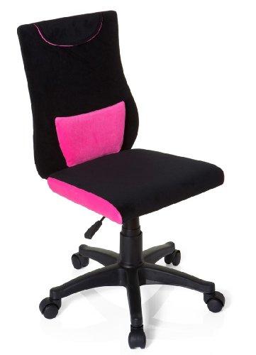hjh OFFICE 670490 Kinderdrehstuhl KIDDY PRO Stoff Pink/Schwarz Kinder Schreibtischstuhl höhenverstellbar, ideal für Schulanfänger
