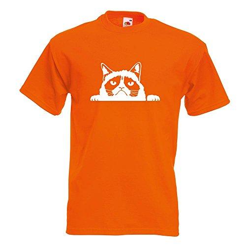 KIWISTAR - mürrische Katze T-Shirt in 15 verschiedenen Farben - Herren Funshirt bedruckt Design Sprüche Spruch Motive Oberteil Baumwolle Print Größe S M L XL XXL Orange