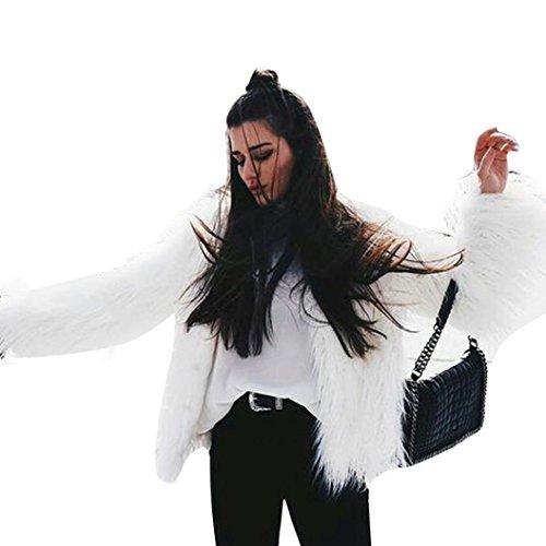 Vovotrade Donne di modo caldo del rivestimento del cappotto in pelliccia sintetica Fox Inverno Parka Cappotti bianca