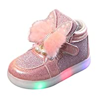 Kids Shoes, Anglewolf Cute Children Kids Girls Zip Crystal LED Light up Luminous Sneakers Baby Lovely Casual Comfortable Shoes(Pink 2,8 UK)