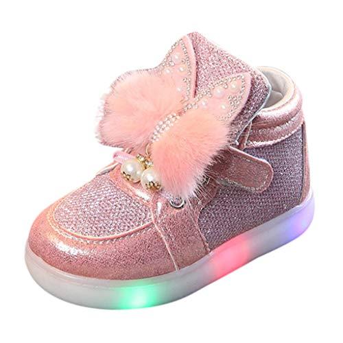 SEWORLD Kinder Krabbelschuhe Lauflernschuhe Cartoon Kaninchen LED leuchtende Sportschuhe Turnschuhe Baby Segeltuchschuhe Weiche Sohle Babyschuhe Säuglingskleinkind Sneaker(Rosa,21 EU)